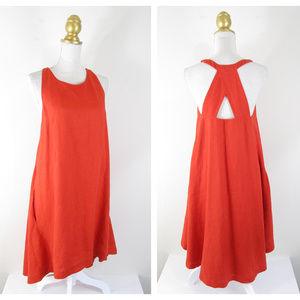 Banana Republic Orange Red Linen Trapeze Dress